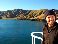 Robby enjoying the scenic voyage between Picton and Wellington on the Interislander Ferry