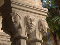 Delicate pillar carvings in the Romanesque cloister of the Franciscan monastery