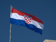 One of dozens of Croatian flags proudly flying over Dubrovnik