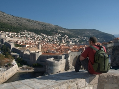 Robby chilling on the walls of Fort Lovrijenac admiring the view of Dubrovnik