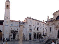Panoramic view of the Town Hall, Clocktower and Church of St Blaise