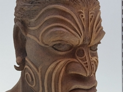 Māori ceramic on display at the Whanganui i-SITE Visitor Center