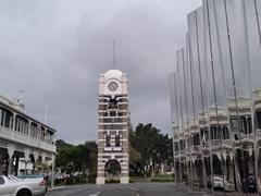 New Plymouth town clock tower next to the Govett-Brewster Art Gallery and White Hart Hotel
