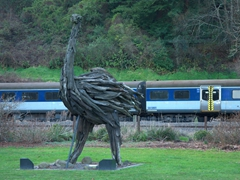 Giant Moa in driftwood; a town icon in Taumarunui