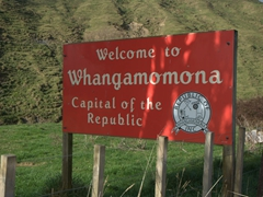 Signpost for Whangamomona, its own republic and an autonomous entity seperate from New Zealand; Forgotten Highway