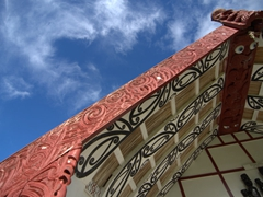 Painted kowhaiwhai detail (traditional red/white/black patterns brought from Polynesia hundreds of years ago); Koriniti Marae