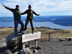 Posing on top of Mount Tarawera