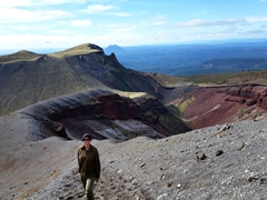 Becky loving the views from Mount Tarawera. The 1886 erupton of this volcano was New Zealand's largest