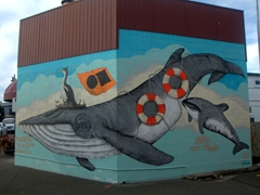 Mural dedicated to New Zealand's endangered marine animals; Napier