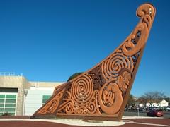 Maori boat prow carving; Gisborne