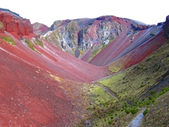 Colorful view while hiking out of Mount Tarawera volcano