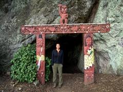 Becky standing at Muriwai's Cave; Whakatane