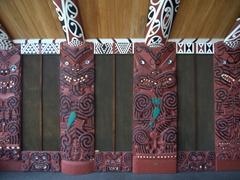 Side panel; Mataatua maori house, Whakatane