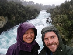 Visiting Huka Falls on a rainy day; Taupo