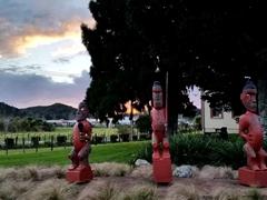 Maori statues; Coromandel Town