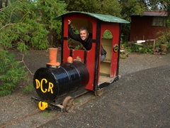 Robby is ready to ride; Driving Creek Railway