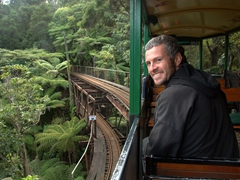 Robby smiles as we enter the double deck viaduct section of Driving Creek Railway