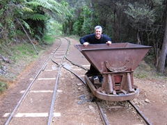 Robby pushing a wagon along the Karangahake Gorge Windows Walk