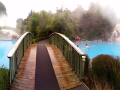 Panorama of the mineral rich hot thermal pools of Wairakei Terraces