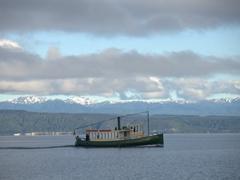 Vintage steamship Ernest Kemp crusing across Lake Taupo