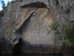 The Mine Bay Maori Rock Carvings are only accessible by water. We visited them on the lovely Sail Barbary electric yacht