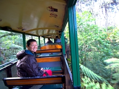 Becky enjoying the ride on New Zealand's only narrow gauge mountain railway; Driving Creek