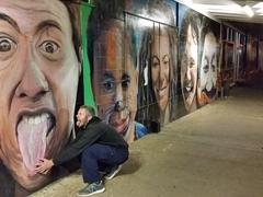 Robby mimics a mural; Kaikohe