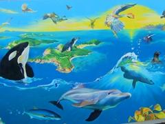 Colorful wall mural; Paihia