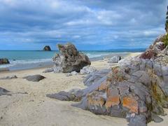 Rock formations on Mangawhai Beach