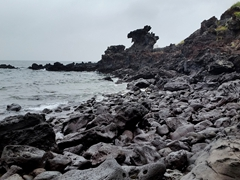 "Basalt rock formation known locally as ""Yongduam Rock"" (Dragon Head's Rock)"