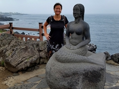 Becky and the mermaid statue; Dragon's Head Rock