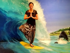 Tree pose on a surf board!