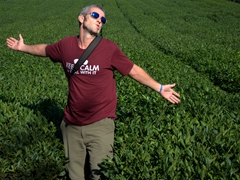 Robby strikes a pose in the tea fields at O'Sulloc Tea Museum