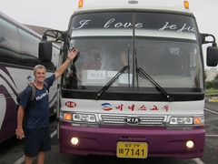 "Robby about to board our ""I Love Jeju"" tour bus"