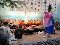 "Village ""Yeongdeung Goot"" (exorcism) ceremony believed to proctect Jeju's fishermen; Natural History Museum"