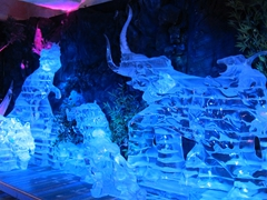Ice sculptures that visitors are encouraged to touch; Sumokwon