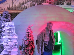 Robby at the entrance to a massive ice igloo; Sumokwon