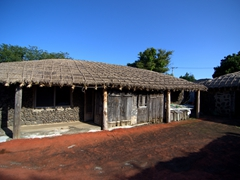 Traditional dwelling built of thatch and lava rock; Seongeup Folk Village