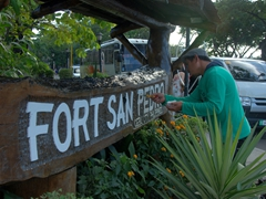 "Painting the welcome sign to ""Fort San Pedro""; Cebu"