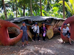 Posing by a massive crab; Loboc River