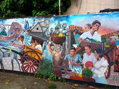 Colorful wall near the Heritage of Cebu monument