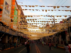 Flags decorating the street next to Basilica del Santo Niño; Cebu