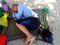 Anh Long taking a nap; Doljo Beach