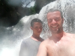 The boys cooling off at Mag-Aso Falls