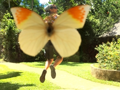 Optical illusion as Becky becomes a butterfly