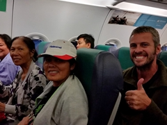 Yay! Smiles all around after we caught our short transit outbound flight from Manila to Saigon