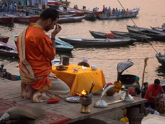 Morning Ganga aarti (prayer for the Ganges River); Varanasi
