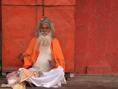 Sadhu in yoga position