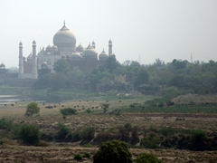 A hazy view of the Taj Mahal as seen from the Agra Fort