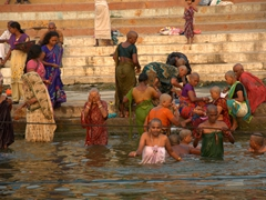 In holy places such as Varanasi, Hindu women shave off their hair as an offering to God